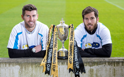 19/10/15 TONY MACARONI ARENA - LIVINGSTON Livingston manager Mark Burchill (left) joins Liam Buchanan as they prepare for their Petrofac Training Cup Quarter-Final match against Rangers