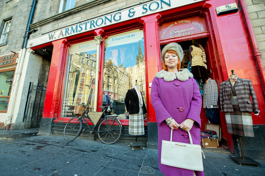 Wm Armstrongs, in Edinburgh's Grassmarket, is the vintage store to go to for celebrities when they are in Edinburgh IN PIC................. Shop manager, Jane Barrow outside the shop (c) Wullie Marr/DEADLINE NEWS For pic details, contact Wullie Marr........... 07989359845