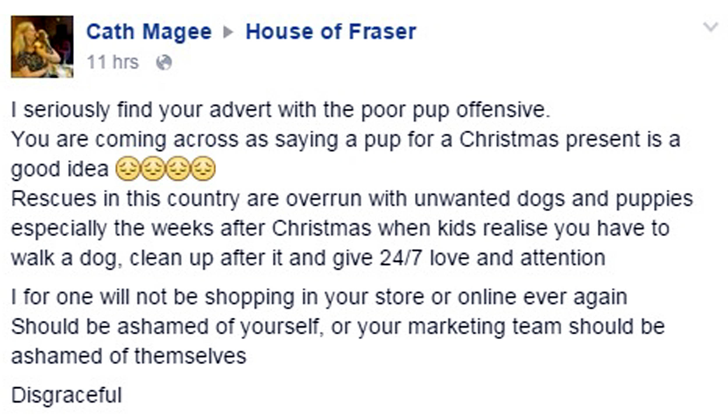 House of fraser forced to remove disgusting pug advert for Housse of fraser