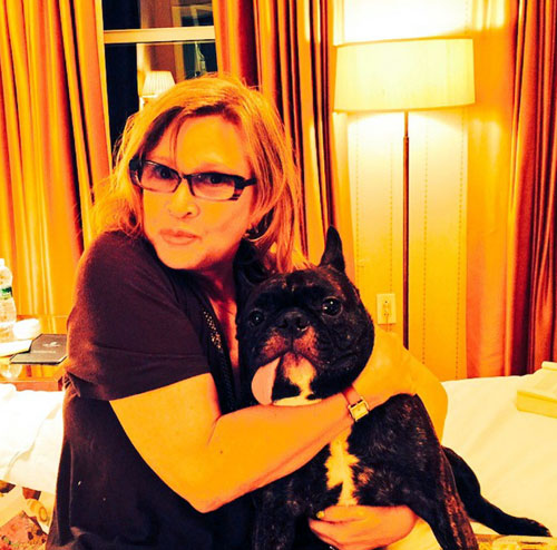 Carrie with her beloved pooch