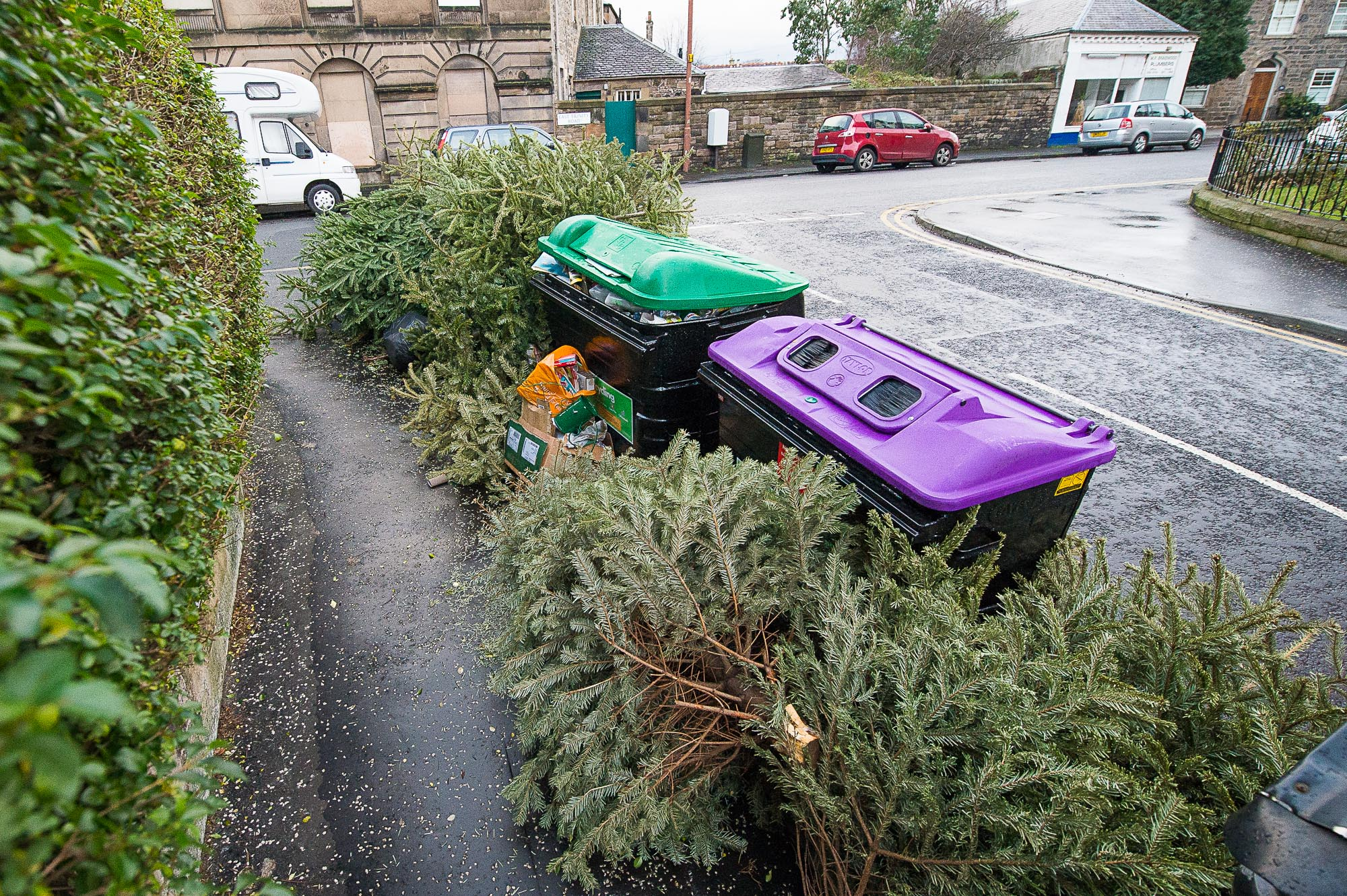 MOUNTAINS of abandoned christmas trees are contributing to an average of over 120 complaints a day about waste left uncollected in Scotland?s capital city. Between January and November last year, an astonishing 40,662 complaints were made to Edinburgh Council relating to non-collection of waste including household wheelie bins, recycling, food waste and on-street public bins. And the problem shows no signs of improving as piles of Christmas trees were left lying all over the streets of Edinburgh - the day after the supposed collection date for them. The figures, obtained through a Freedom of Information request, show that the city is in a worst state that ever before with complaints soaring from 31,996 for the whole of the previous year. Complaints between January and November 2015 averaged 122 a day or one complaint every 12 minutes. And 95% were noted as being due to ?non-collection of waste? - the other 5% being from complaints relating to ?conduct enquiries? and ?insurance enquiries?. Hundreds of angered residents have taken to the council?s Twitter page to share shocking images of overflowing bins - some of which have not been collected since before Christmas.