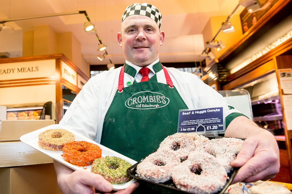 Crombies butchers, makers of 'haggis doughnuts'. Manmager, Brian Barclay, with the doughnuts. *** Words also supplied *** IN PIC................. (c) Wullie Marr/DEADLINE NEWS For pic details, contact Wullie Marr........... 07989359845