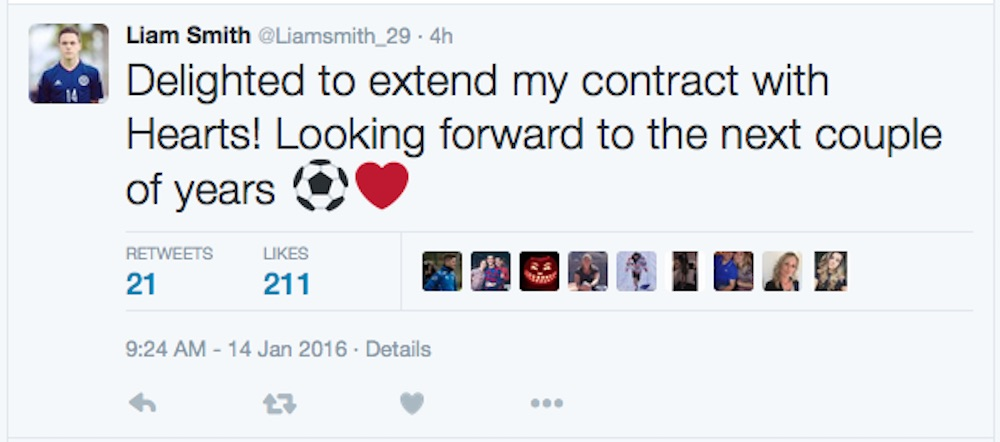 Smith took to twitter to express his delight (Pic: Twitter @Liamsmith_29)