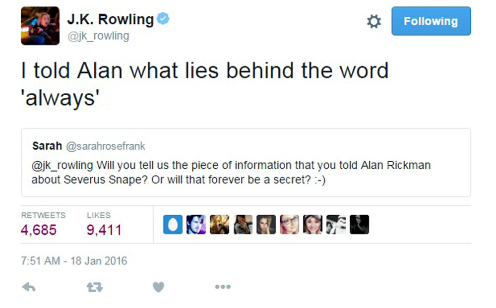 Rowling's tweet, which sent fans into meltdown
