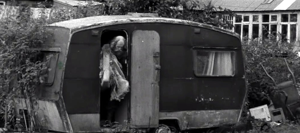 The caravan as it appears in the black and white film