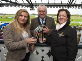 Alex Nicol, founder of Edinburgh Gin, with Sarah Montgomery, Senior Operations and Commercial Manager at Musselburgh Racecourse (In the black top) and Hattie Nicol, Event Manager at EdinburghGin