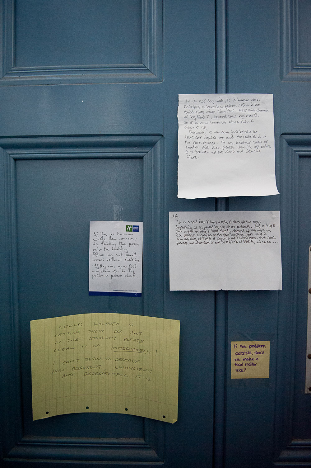 The selection of notes on the back of the door