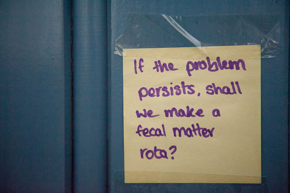 One person suggested a 'fecal matter' rota