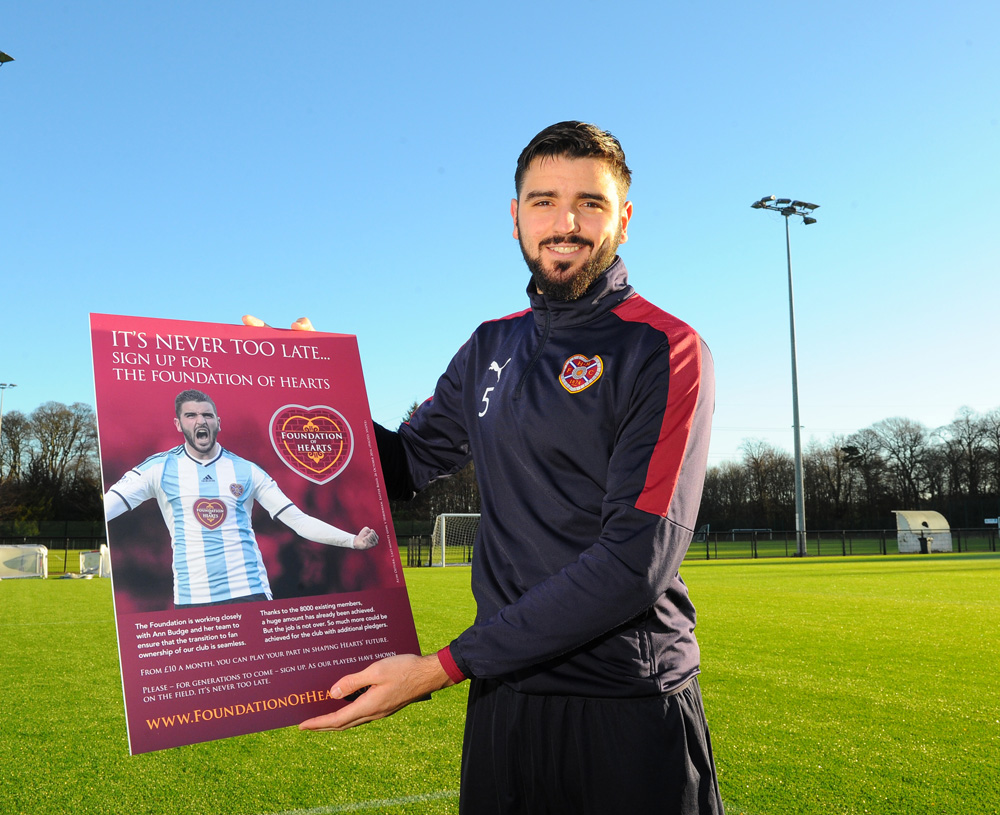 3/02/2016 Hearts Training Centre ,Riccarton Edinburgh. Hearts Captain Alim Ozturk helps launch The Foundation of Hearts It's Never to Late Campaign Pic Eric McCowat