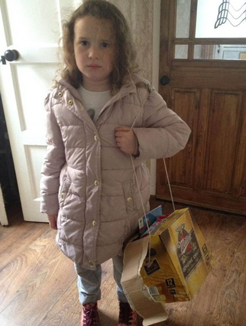 When Joe made his daughter a schoolbag out of a beer box