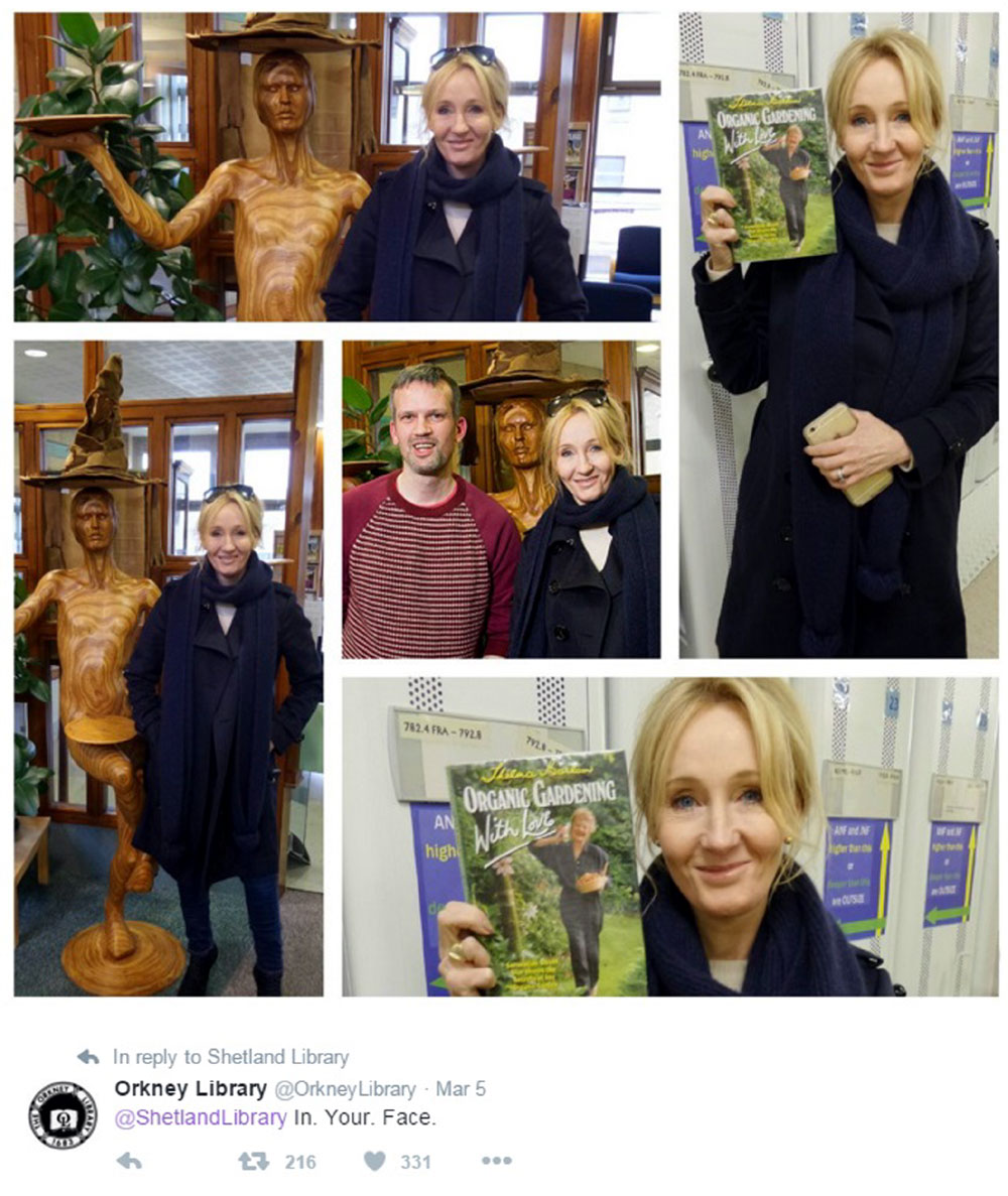 Orkney Library was quick to boast about their special visitor