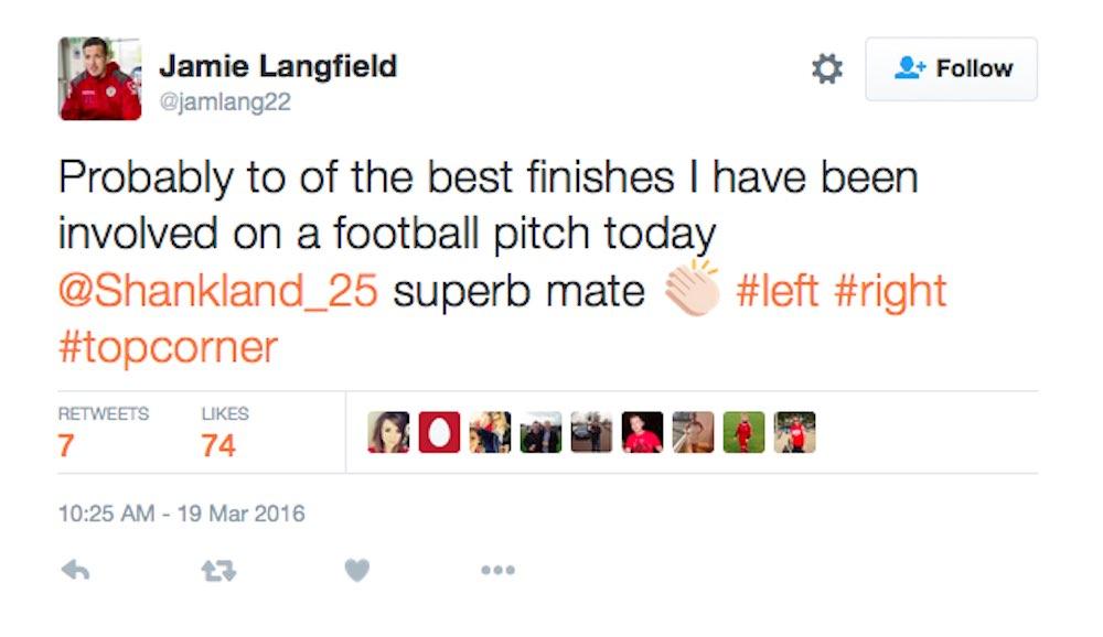 Teammate Jamie Langfield makes his feelings on Shankland's wonder-goal clear