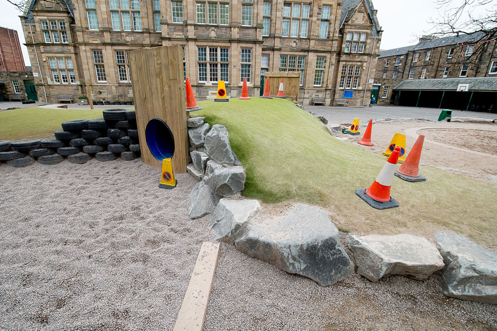 The new area boasts a grassy mound, rubber tyres and a tunnel