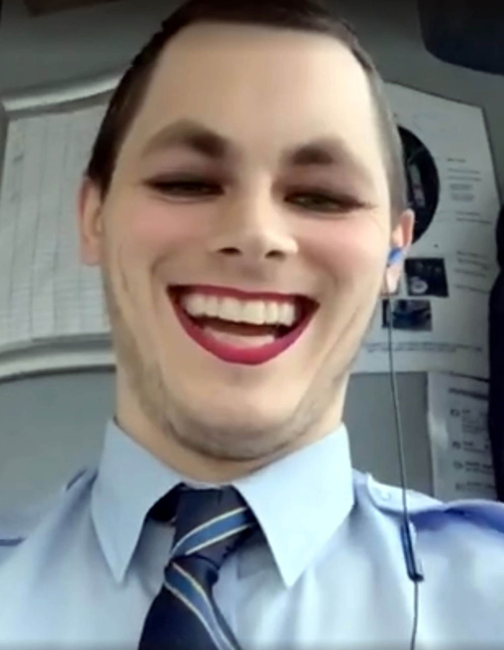 Leon distorted his face while driving the bus