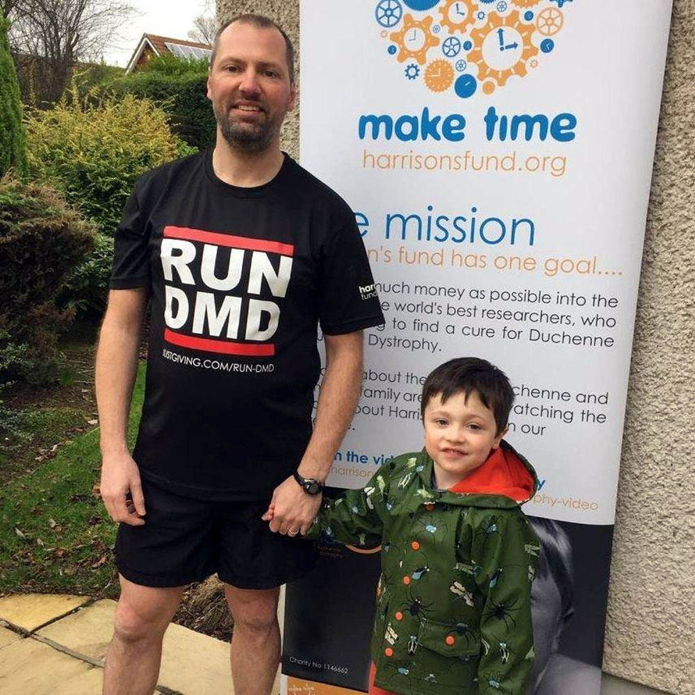 Gary with his son, raising awareness for Duchenne muscular dystrophy