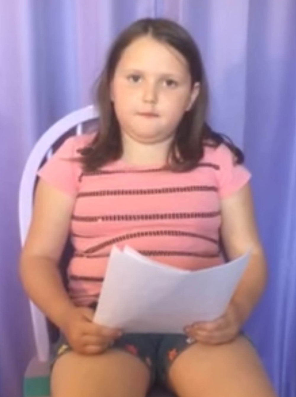 Abby read out her note to camera