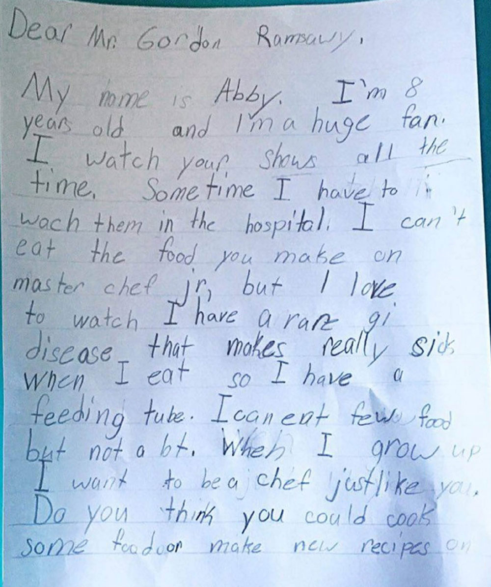 "In her letter she says it is her ""dream"" to become a chef"