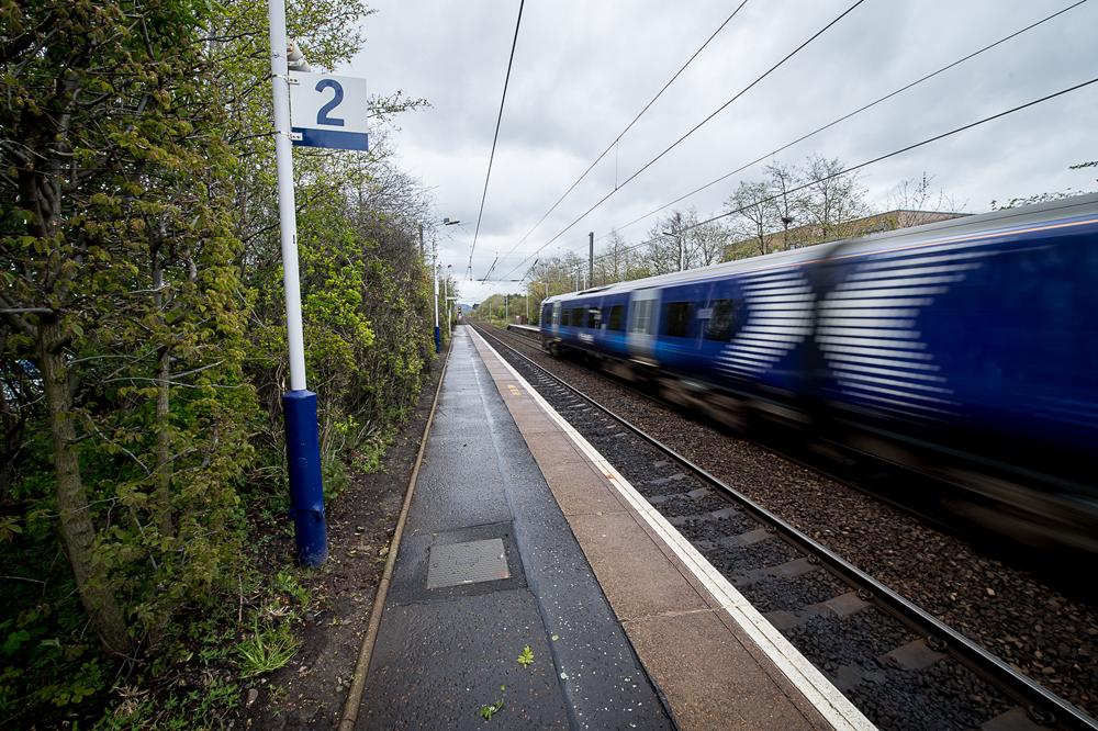 A THREE year old boy ran along one of Scotland's busiest railway lines for half a mile after getting off a train without his parents. The toddler jumped off the Glasgow to Edinburgh train in Wester Hailes and was left behind on the platform. IN PIC................. Wester Hailes train station (c) Wullie Marr/DEADLINE NEWS For pic details, contact Wullie Marr........... 07989359845