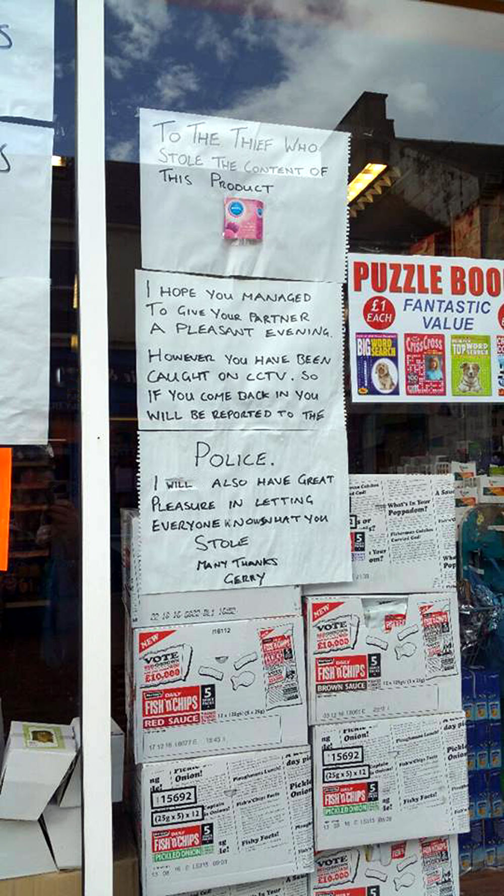 The note was posted in the shop window