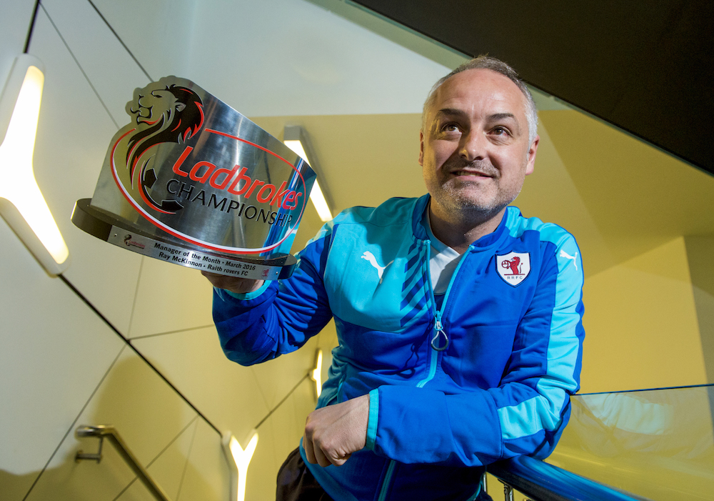 Raith Rovers manager Ray McKinnon receives the Ladbrokes Championship Manager of the Month Award for March.