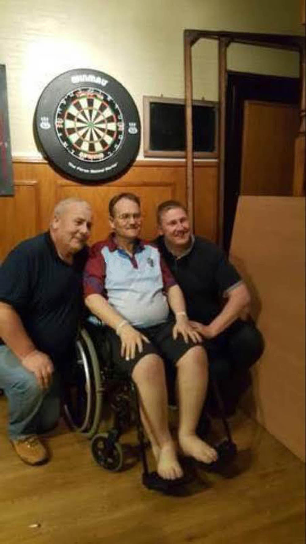 Simon with some friends at his final get together in his local pub