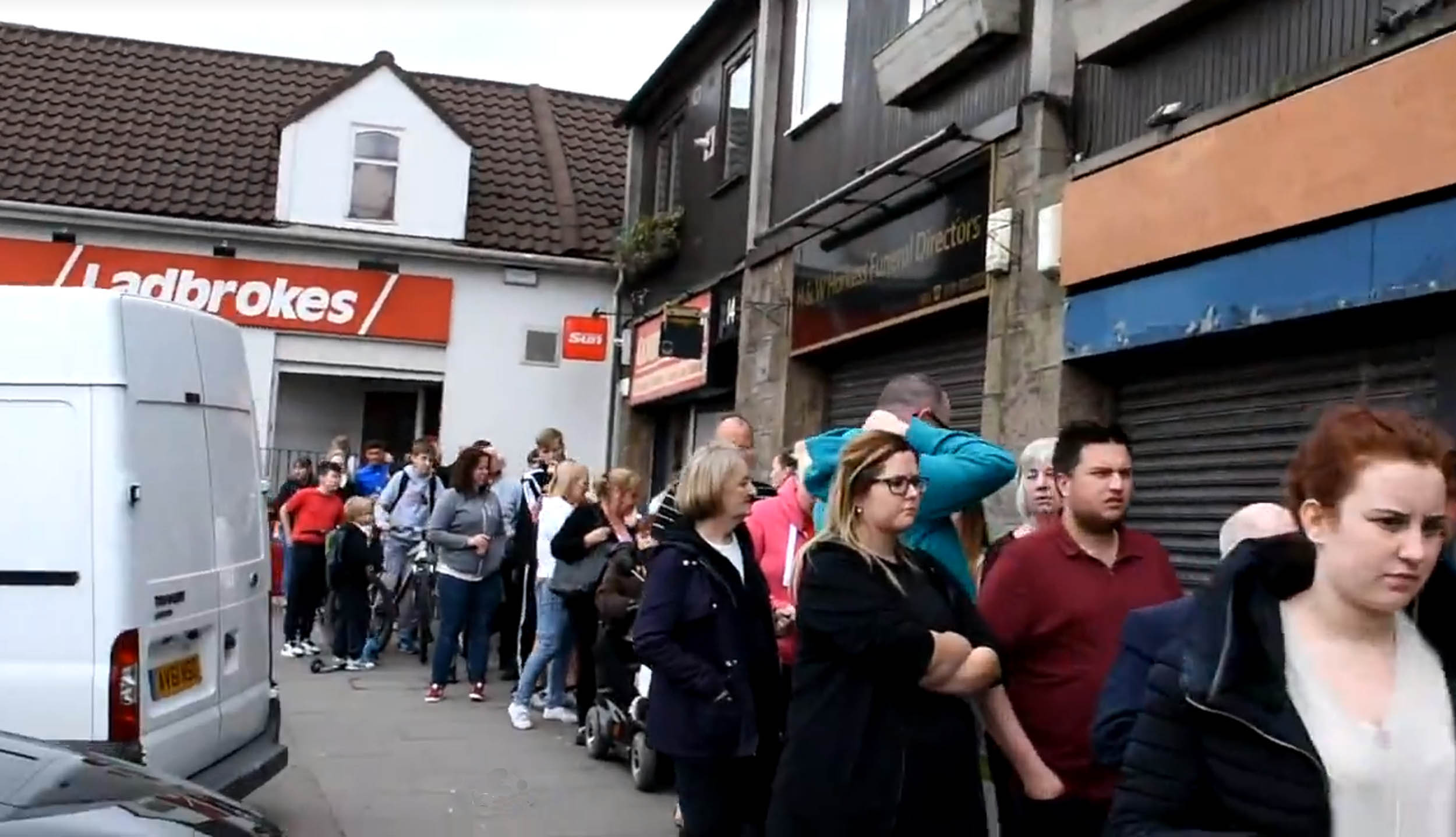 The queue down the street outside the chippy