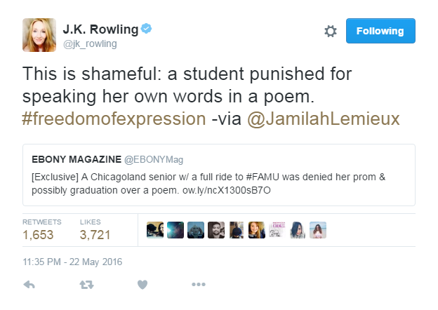 JK Rowling's reaction to the student's ban
