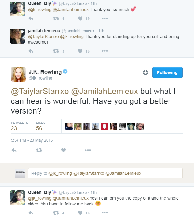 JK Rowling and reply