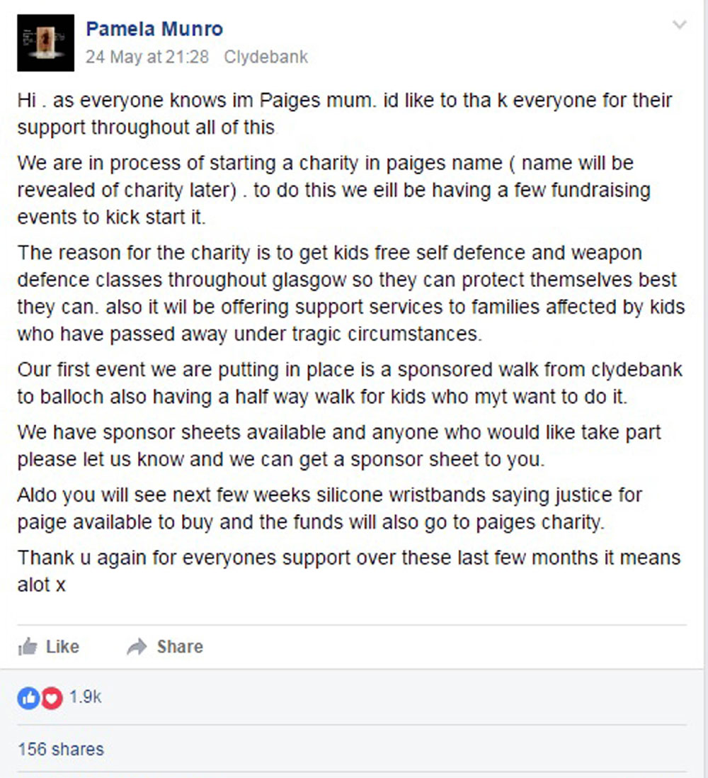 Paige's mum's Facebook announcement