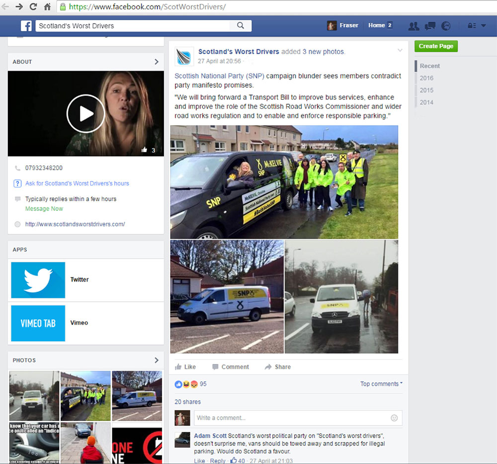Scotland's Worst Driver Facebook page showing the pictures