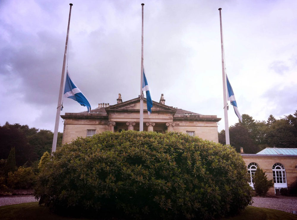 Flags were flown at half mast as a sign of respect