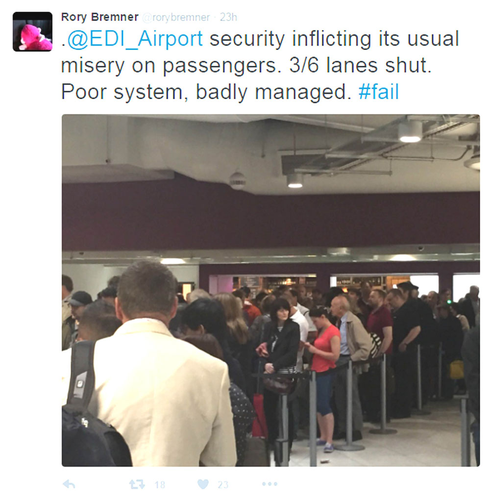 Rory Bremner faced long queues at Edinburgh Airport