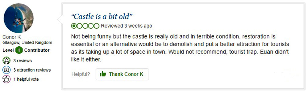 The comical TripAdvisor review