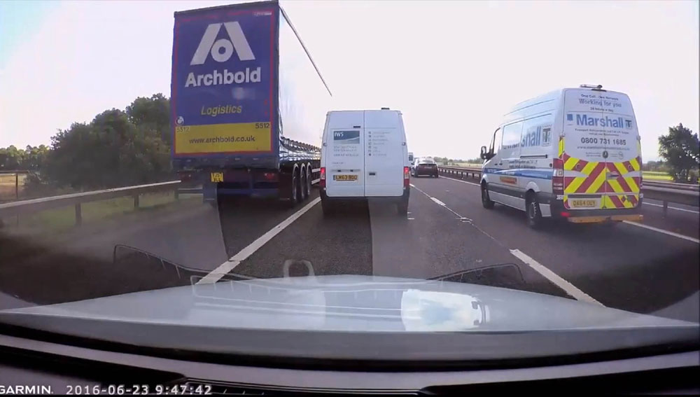The dangerous driver was caught on dashcam