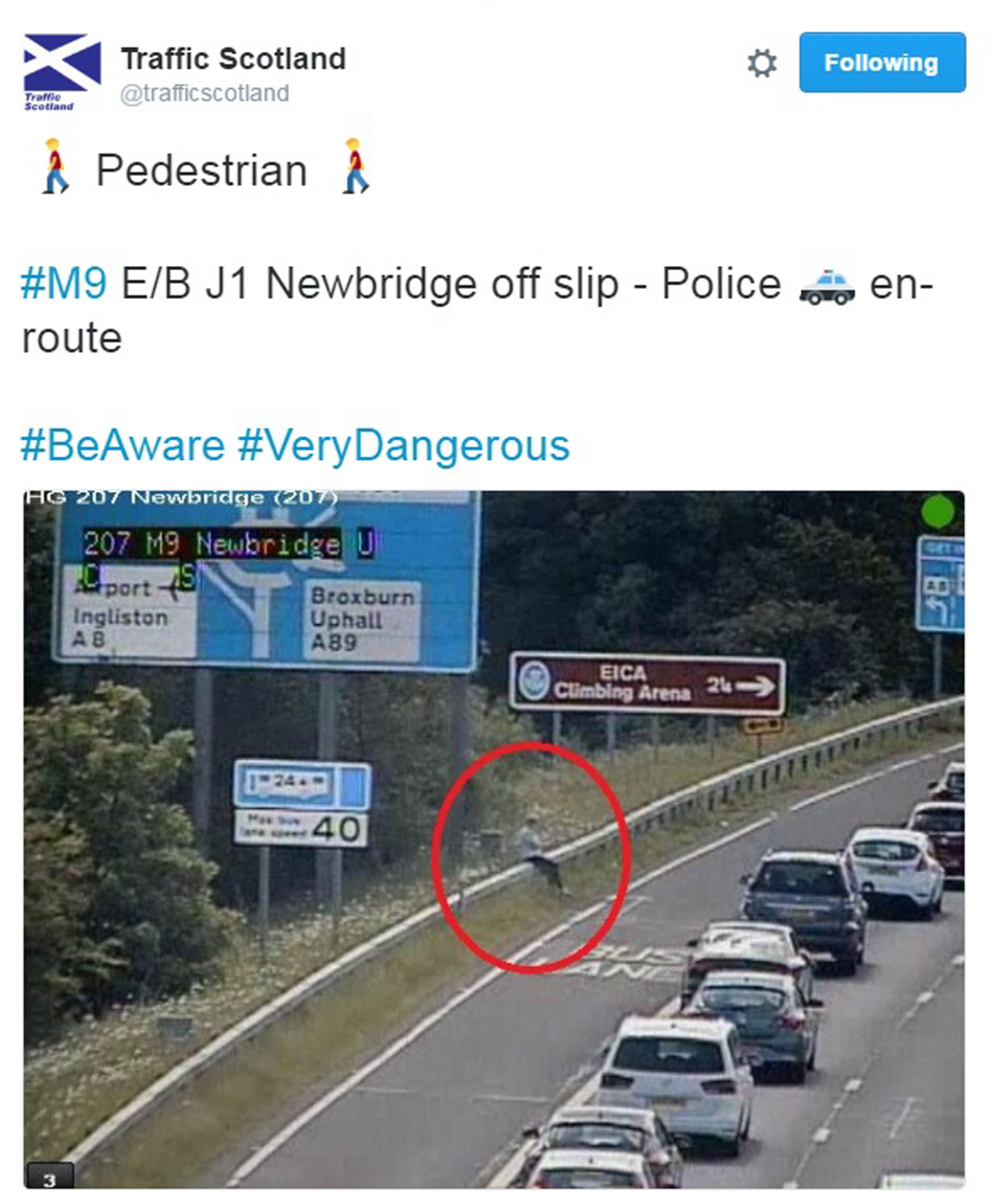The image was tweeted by the Traffic Scotland account.