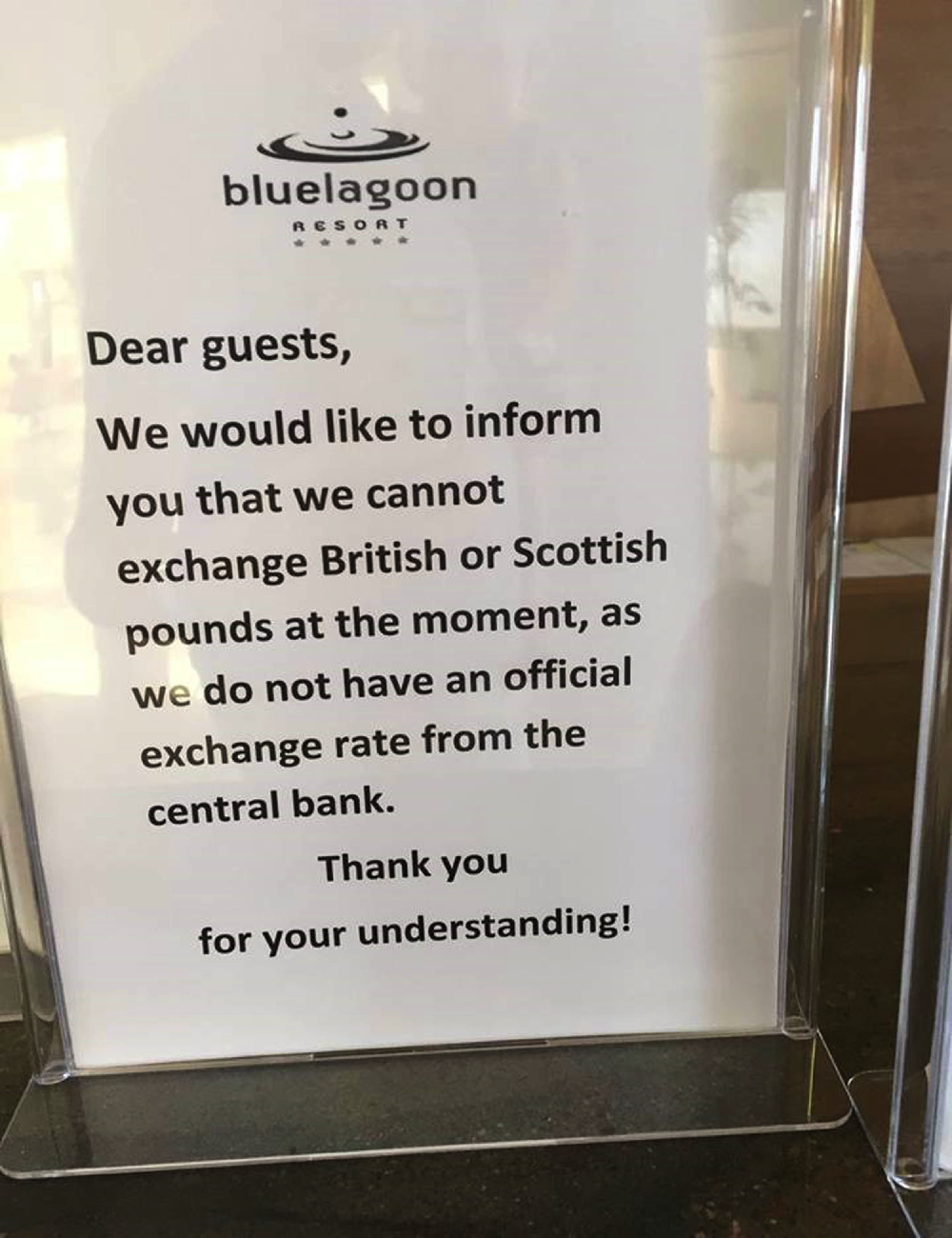 The notice was posted at the Blue Lagoon resort