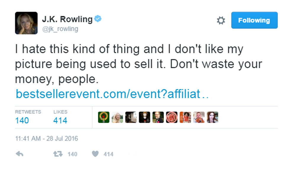 The Harry Potter author wasn't happy that her picture had been used