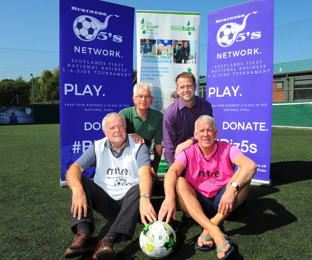 17/08/2016.FREE PIC......Business Fives, Scotlands's first national business five-a-sides football tournament. Business Fives Network. L/r Former Hibernian legend Pat Stanton , Jim Robertson Network Foodbank, John McClarey Business-Fives Ltd & Former l Hearts legend Gary Mackay , help promote the national final,. See Sty PIC ERIC MCCOWAT