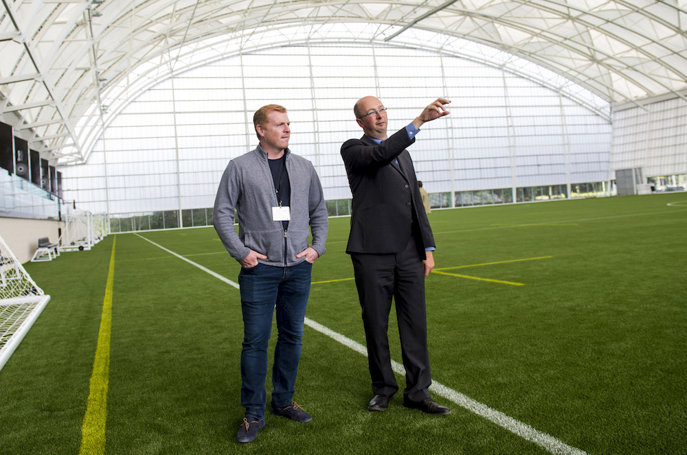 18/08/2016 THE ORIAM - EDINBURGH The opening of the new improved Oriam Neil Lennon (left) is shown around the facilities