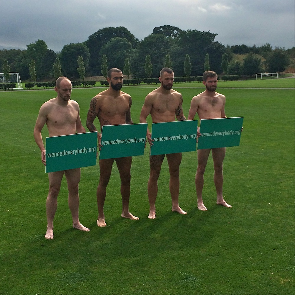 David Gray, Liam Fontaine, Jordon Forster and Sam Stanton help Hibs support the NHS campaign 'We Need Everybody', designed to encourage more people to join the Organ Donor Register