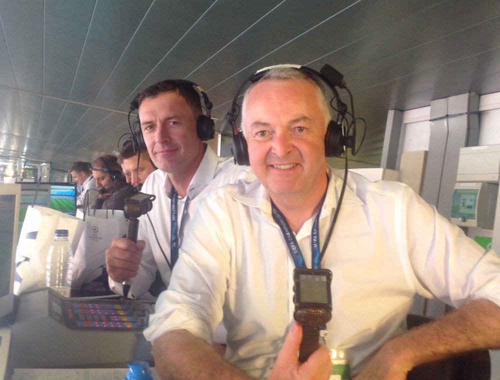 (Pic: @RaeComm) Sutton (left) with BT Sport commentator David Rae