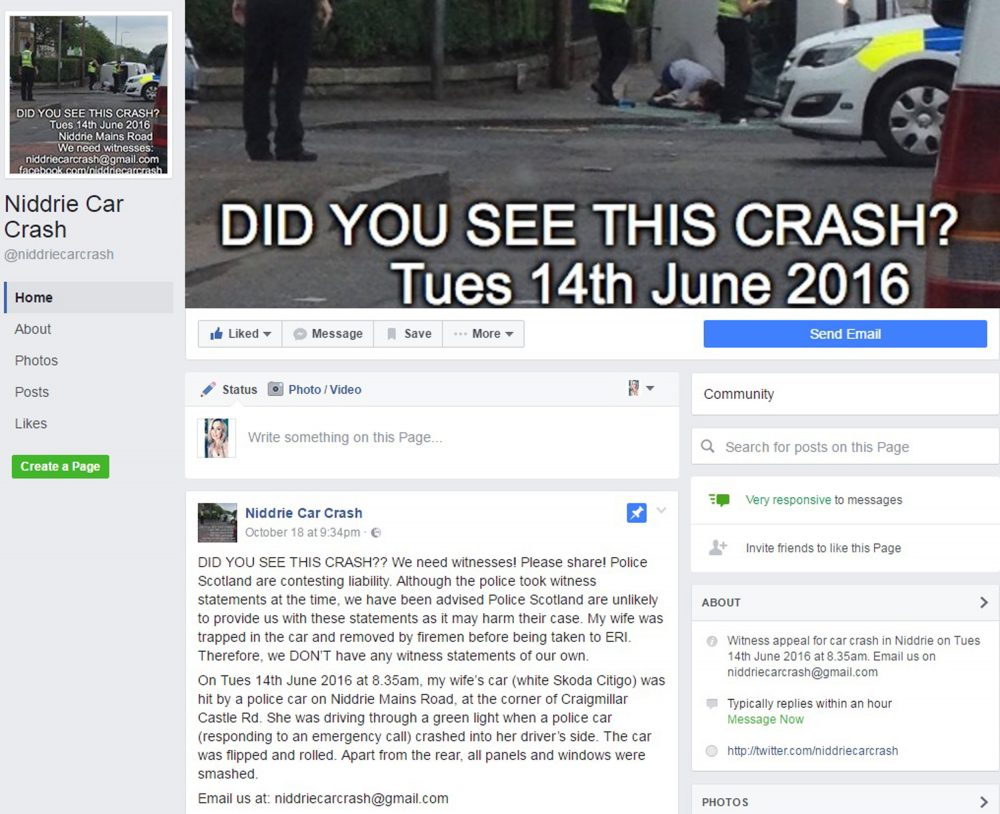 The couple have set up a Facebook page desperately appealing for witnesses.
