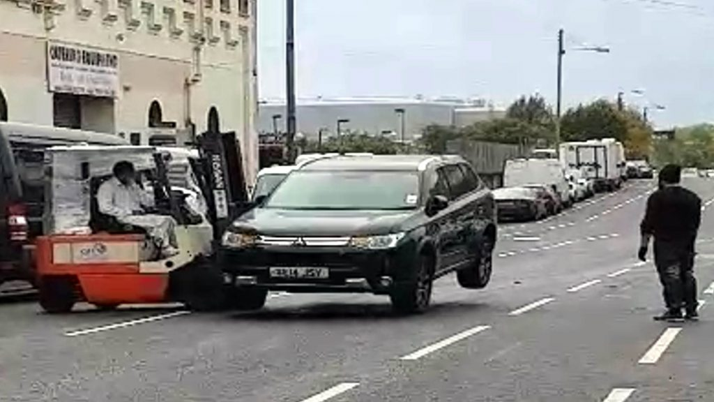 The £15,000 Mitsubishi was parked in a legal space but a businesses reckoned it was restricting access for their vehicles.