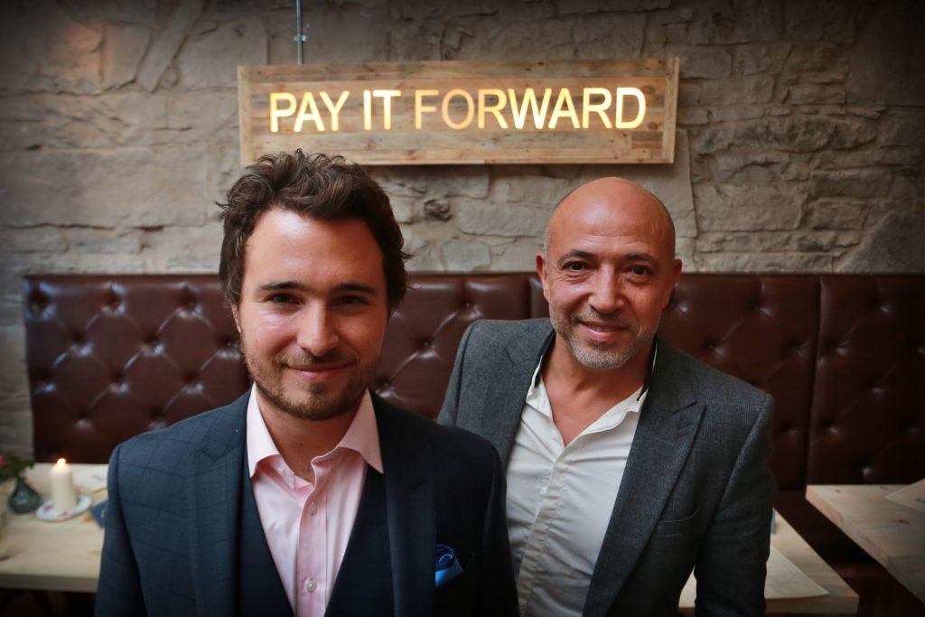Josh Littlejohn, of Social Bite and Dean Gassabi, owner of the Maison Bleue restaurants