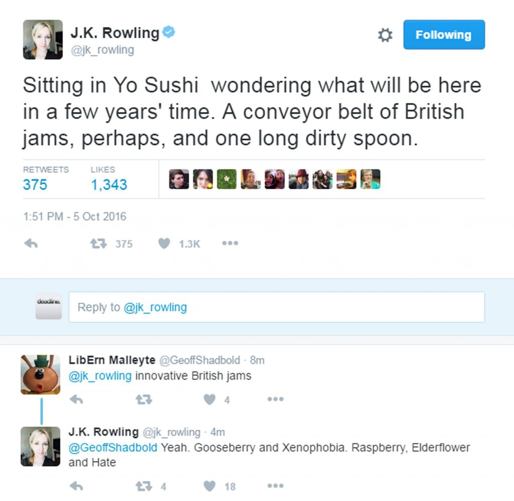Followers replied to JK Rowling