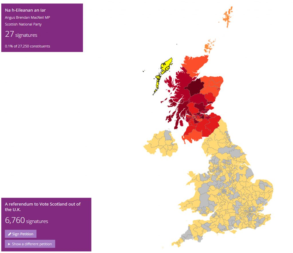 AN English petition to kick Scotland out of the UK has been hijacked - by Scots.