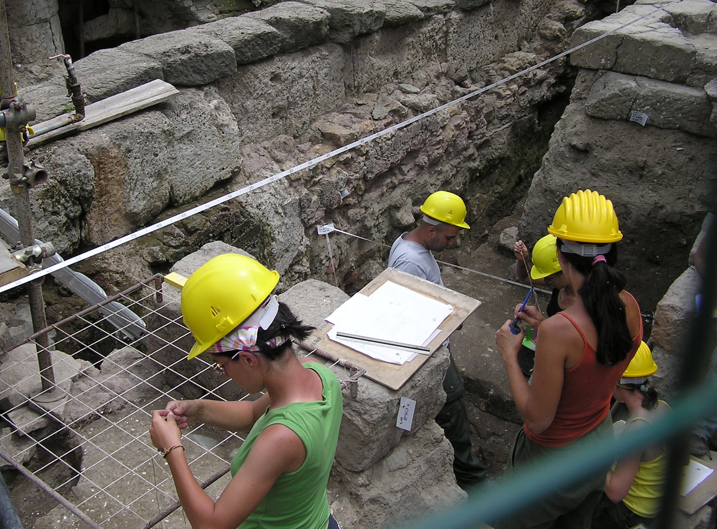 Archaeologists working on a dig site