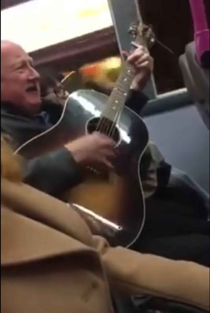 A WHITE-haired pensioner amazed late night bus passengers by producing a guitar and belting out an Oasis classic. A video of the performance opens without the man's face in shot and most viewers would assume the musician  is in his 20s. But when the camera on the Glasgow bus shows the Wonderwall singer it reveals a man who looks very likely to be claiming his pension. Without missing a note the man faultlessly plays the guitar whilst the bus continues its journey with people making their way past him getting on and off.