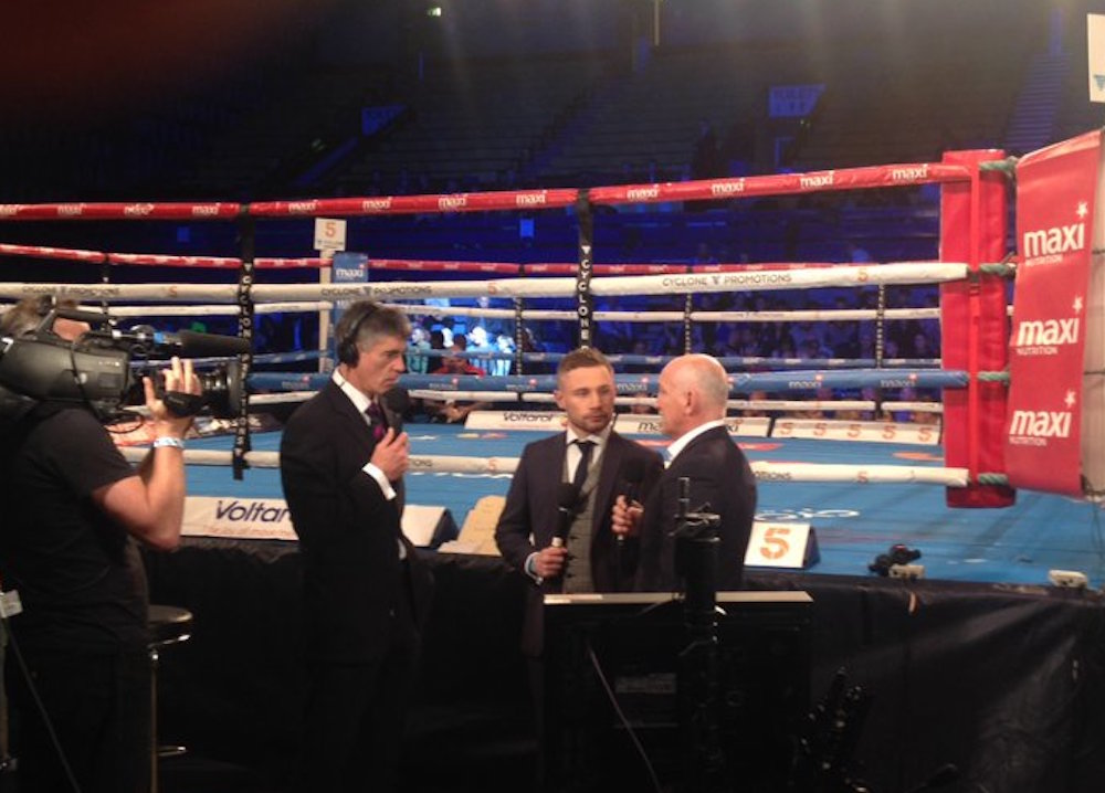 Frampton (centre) at Taylor's fight on Friday night