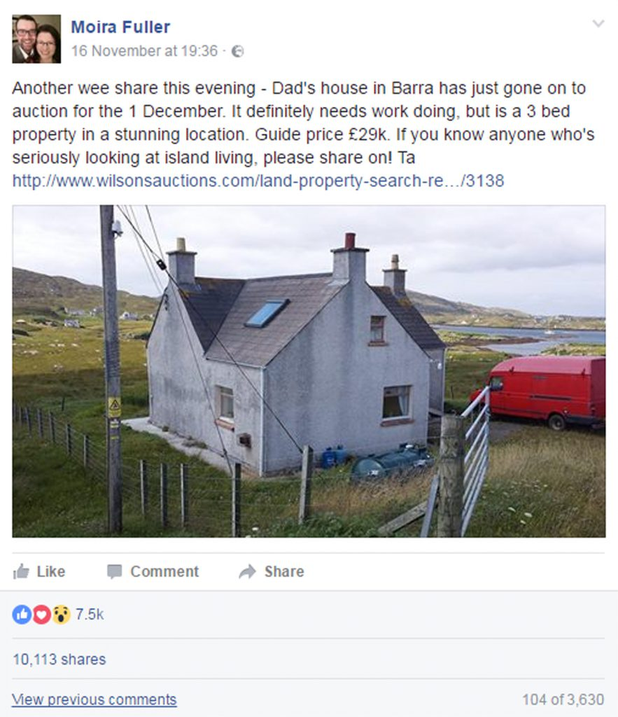 A Facebook post about the detached cottage in Bruernish has been shared 10,113 times compared with Barra's population of 1,300.